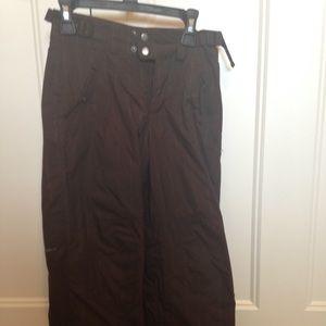 Youth brown Columbia Omni-Shield snow pants